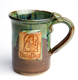 Brown and Green Herbal Sage Tea mug
