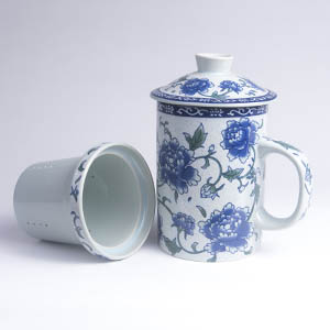 3 Piece Tea Cup Pale Blue with Floral Pattern
